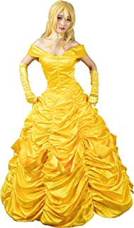 Princess Belle Cosplay Costume Ball Gown Fancy Dress mp002019