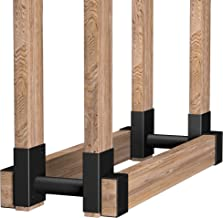 Amagabeli 2Pack Firewood Bracket Log Rack Outdoor Wood Storage Fireplace Lumber Pile Holder Stacker Kit DIY Heavy Duty Ste...