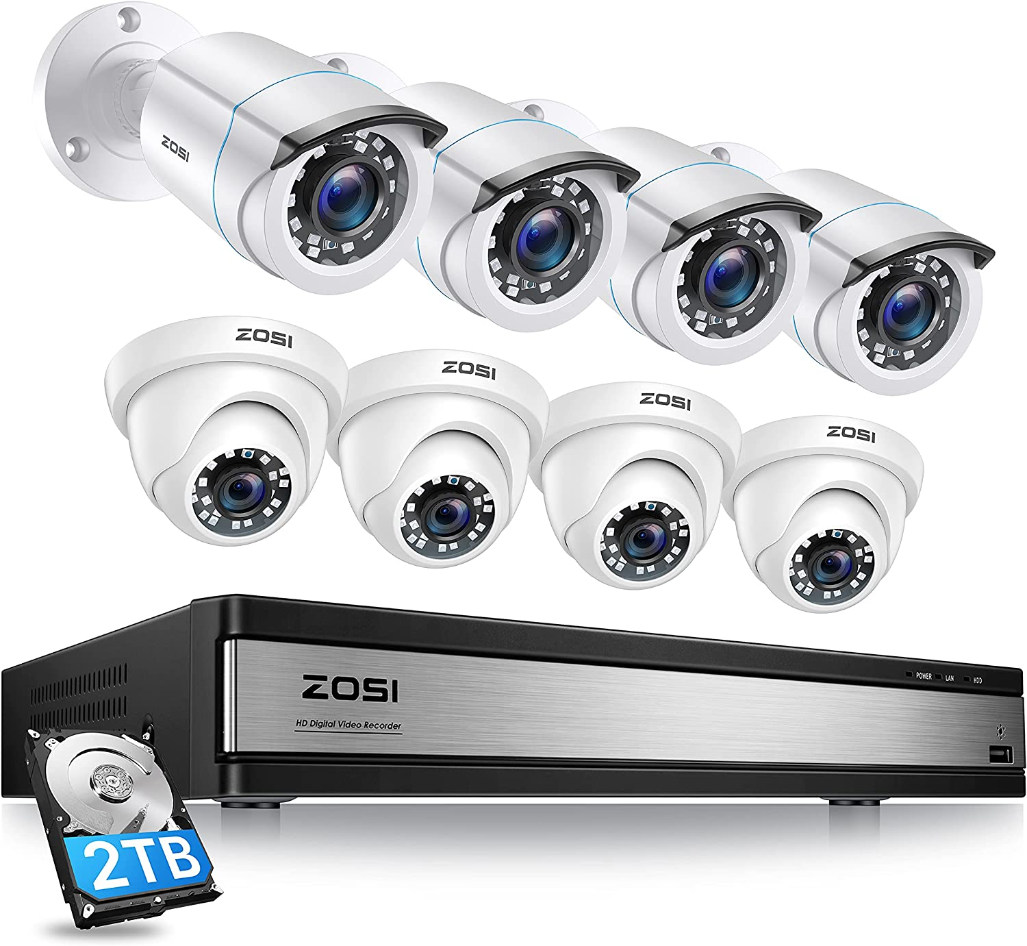 ZOSI Full 1080p 16 Channel Home Outlet ☆ Free Shipping System 1 H.265+ Camera Limited price Security