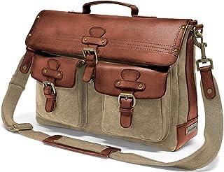 DRAKENSBERG Messenger Bag - Umhängetasche und 15 Laptoptasche für Herren im Retro-Vintage-Design, handgemacht in Premium-Qualität, 15L, Canvas und Leder, Khaki-Beige, DR00101