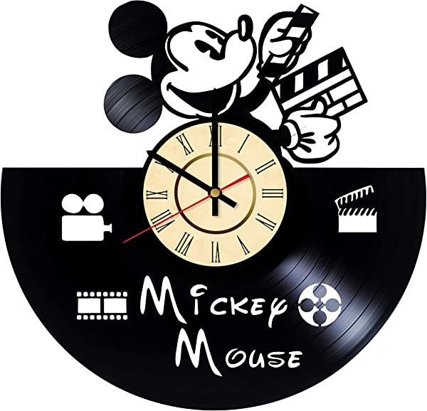 Mickey Mouse Vinyl Clock Gifts For Walt Disney Fans Plane Crazy Wall Decor Minnie Mouse Art Pluto Handmade Living Room Artwork