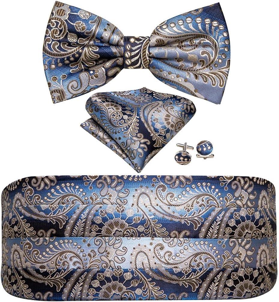 NJBYX Men Bow Tie Floral Cummerbund Bows Blue Bow Tie Cummerbund Self Bow Tie Set Formal for Tuxedo Suit (Color : A, Size : One size)