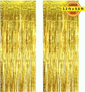 2 Pack 3.3 ft x 9.8 ft Foil Curtains Metallic Fringe Curtains Shimmer Curtain Photo Backdrop for Halloween Christmas Birthday Party Wedding Decor (Gold)