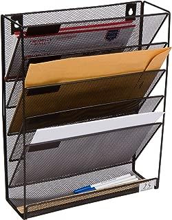 5 Pocket Wall Mounted File Hanging Organizer Metal Mesh Office Home Folder Binder Holder Magazine Mail Rack + Hardware, Black