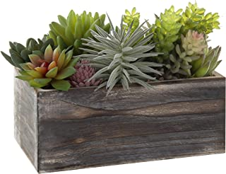 MyGift Assorted Artificial Succulents in Rustic Wood Planter Box