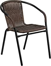 Flash Furniture Medium Brown Rattan Indoor-Outdoor Restaurant Stack Chair