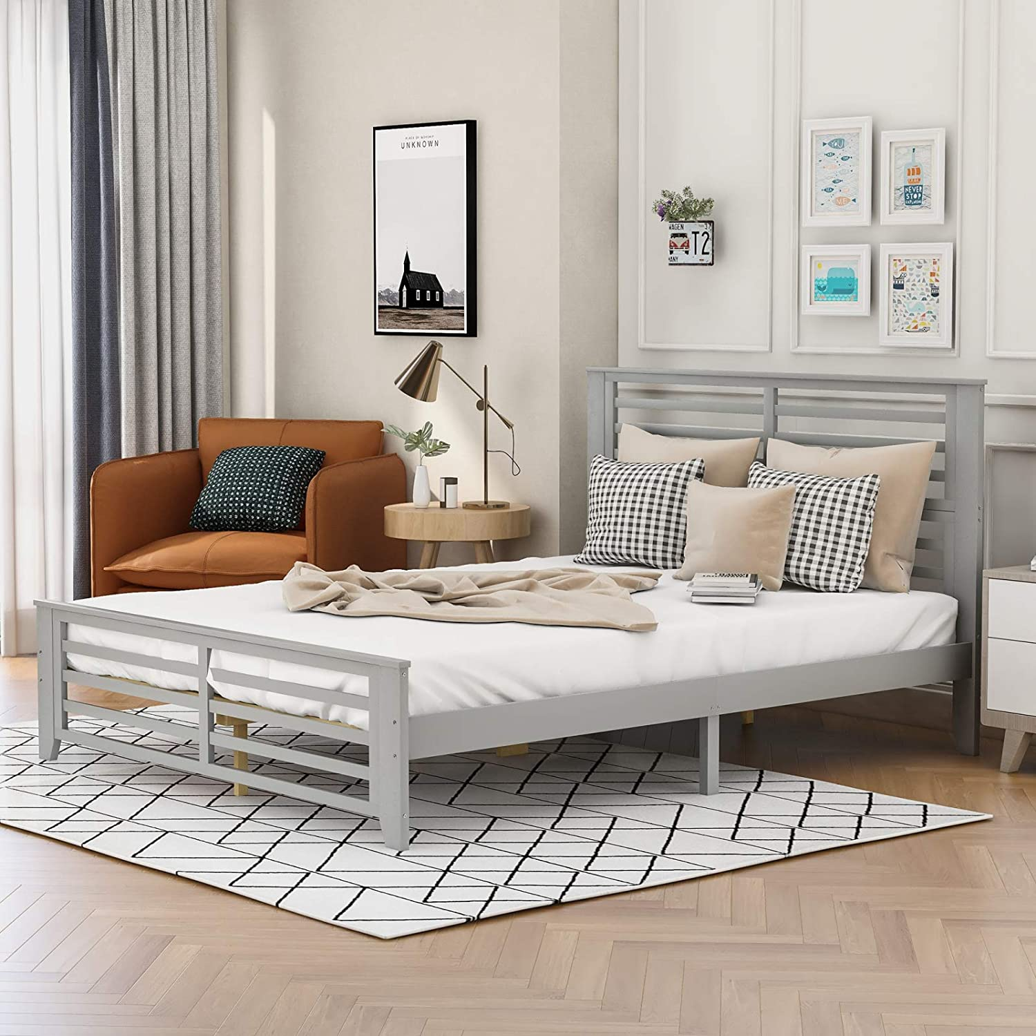 PovKeever - Platform Bed Overseas parallel import regular item with Shape Horizontal Fresno Mall Hollow Strip Que