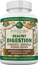 Healthy Digestion Restores Gut Health I Turmeric Triphala Yellow Dock Aid Colon Cleanse Liver Detox Arthritis Bloating Gas I Probiotic Alternative I Boost GI Tract Wellness by Herbalist's Best (1)