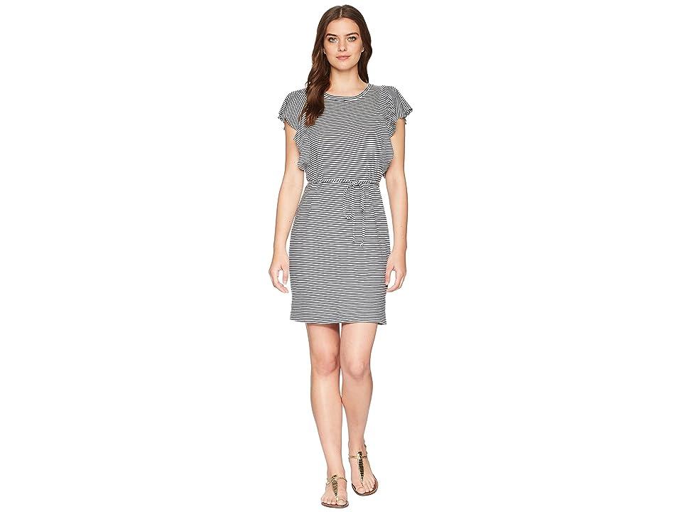 Splendid Ruffle Dress (Navy/Off-White) Women