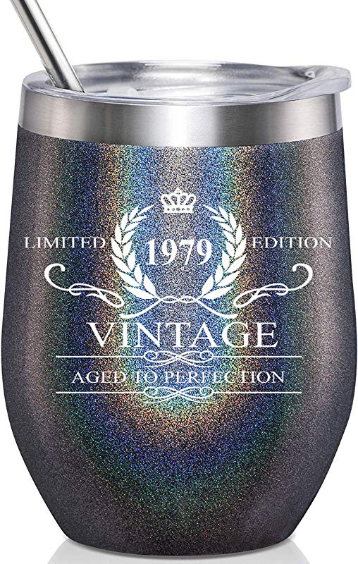 1979 Vintage Aged To Perfection Stainless Steel Wine Tumbler Funny 40th Birthday Gifts For Men Anniversary Gift Ideas For Dad Father Brother Husband Coworker Party Reunion Decorations For Him