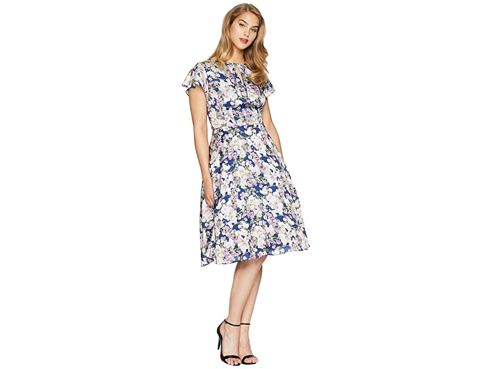 Unique Vintage Formosa Dress (Navy/Purple Floral) Women
