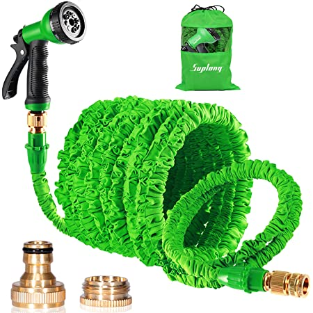 """Expandable Garden Hose, 150ft Strongest Flexible Water Hose, 8 Functions Sprayer with Double Latex Core, 3/4"""" Solid Brass Fittings, Extra Strength Fabric - Upgraded Lightweight Expanding Hose"""
