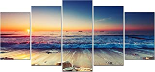 Pyradecor Ocean Seascape Canvas Prints Wall ArtSea Beach Pictures Paintings for Living Room Bedroom Home Decorations 5 Piece Modern Stretched and Framed Ready to Hang Landscape Giclee Artwork