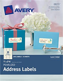 Avery Pearlized Address Labels 0, 1 x 2-5/8, Pack of 240 Labels (8215)