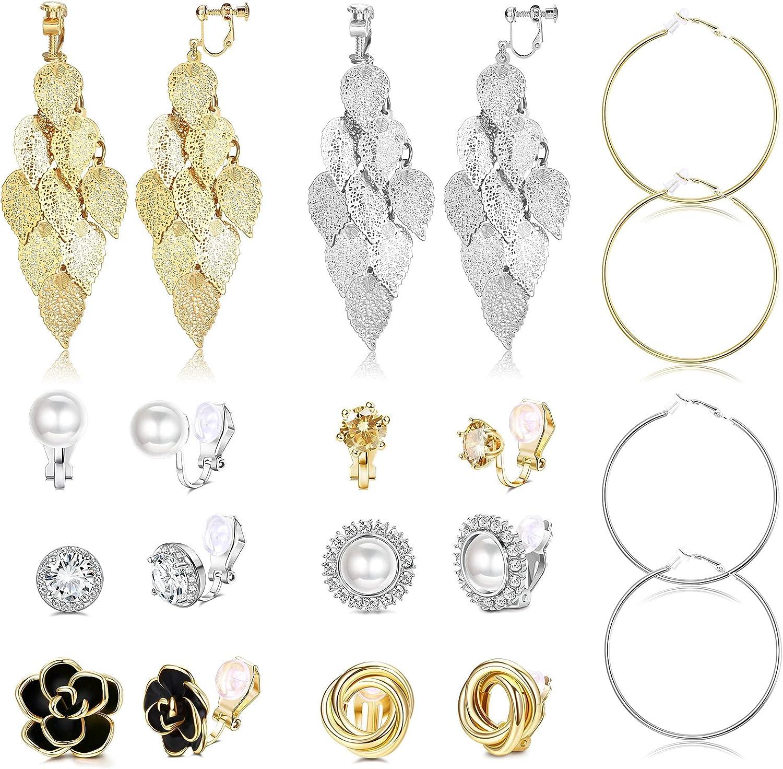 Finrezio 10Pairs Clip On Earring For Women Multi-layer Dangle Drop Earrings Non Pierced Earring Round Square Clip Earrings Jewelry