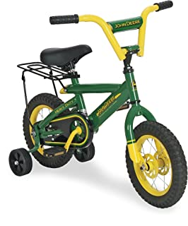 John Deere Heavy Duty Kids Steel Bicycle, 12-Inch, Green and Yellow
