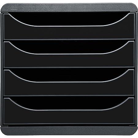Exacompta - Réf. 3104214D - BIG-BOX - Caisson 4 tiroirs pour document A4+ - Dimensions extérieures : Profondeur 34,70 x largeur 27,80 x Hauteur 26,70cm - Noir/Noir glossy