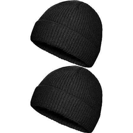 2 Pieces Winter Short Fisherman Beanie Hat Trawler Beanie Watch Hat Edge Skullcap for Men
