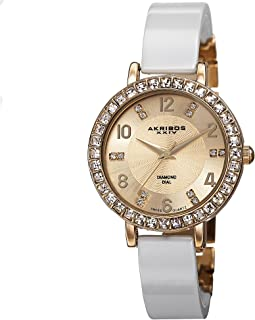Akribos XXIV Women's Ceramic Bangle Watch with Crystal Studded Bezel - 6 Diamond Hour Markers on Sunburst Guilloche Dial - AK758