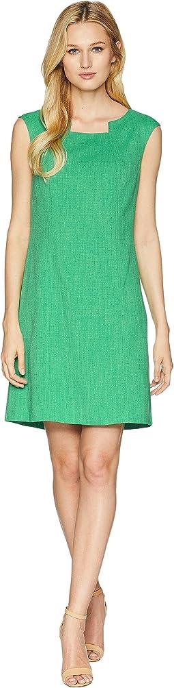 Grasscloth Pintuck Neck Sheath Dress