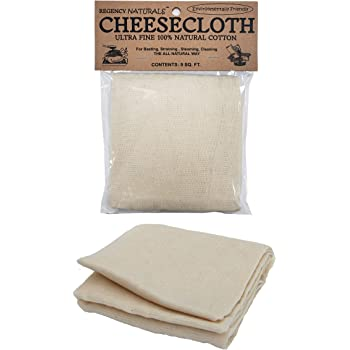 Regency Wraps Natural Ultra Fine Cheesecloth 100% Cotton, For Basting Turkey and Poultry, Straining Soups and Sauces & Making Cheese, single pack, 9 Sq.Ft