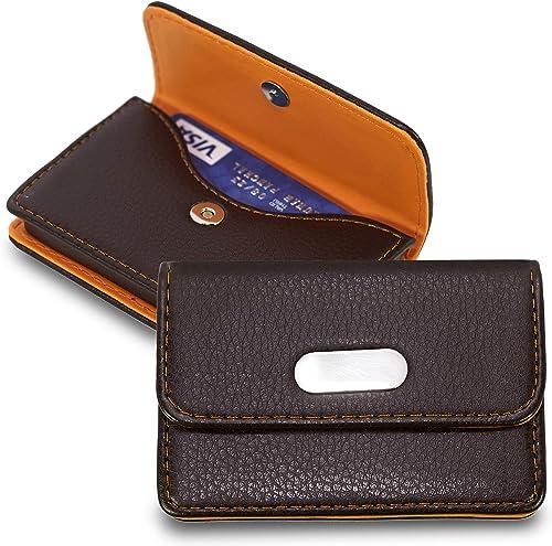 NISUN Pocket Sized PU Leather Business Credit Debit Card Holder for Men Women -Orange Brown