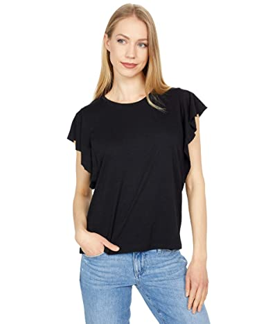 Lilla P Flutter Sleeve Jewel Neck Tee in Flame Modal