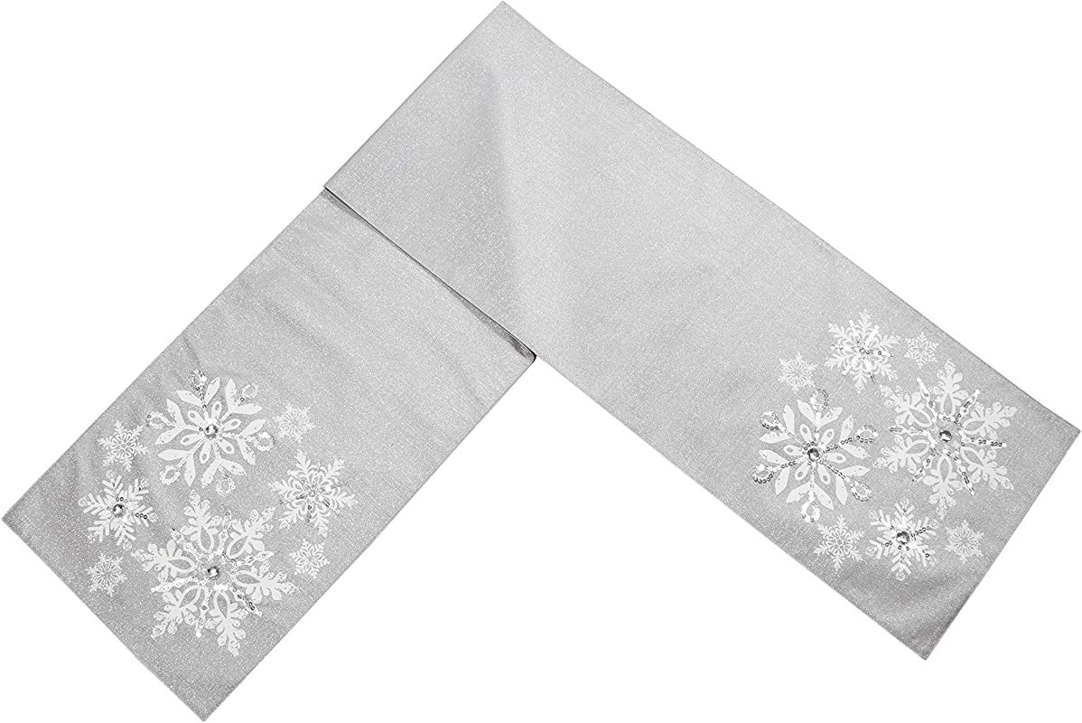 Comfy Hour 13 X72 Silver Snowflake Table Runner