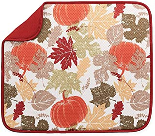 The Original Dish Drying Mat Microfiber Absorbent Machine Washable Fast Drying 16 X 18 Multipurpose Fall Harvest Pattern