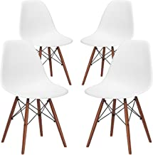 Poly and Bark Vortex Modern Mid-Century Side Chair with Wooden Walnut Legs for Kitchen, Living Room and Dining Room, White (Set of 4)