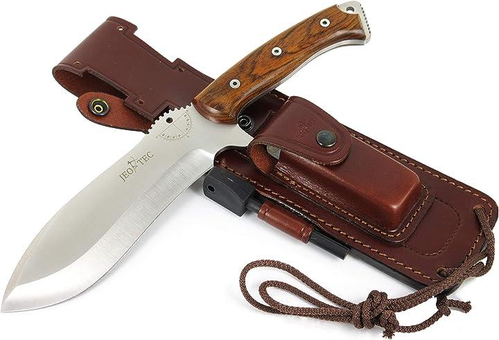 Coltello da caccia, outdoor, sopravvivenza, campeggio - fodero per cintura in pelle + pietra per affilatura 55