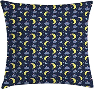FAFANIQ Sky Throw Pillow Cushion Cover, Good Night Theme with Crescent Moon Sleepy Clouds and Stars Bedtime Bird Characters, Decorative Square Accent Pillow Case, 18 X 18 Inches