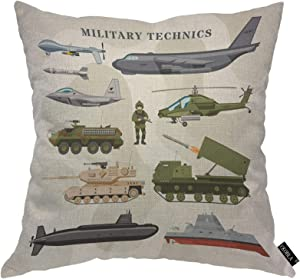 EKOBLA Military Technics Throw Pillow Cover Camouflage Air Freighter Armored Plane Tank Helicopter Cozy Square Cushion Case for Men Women Boys Girls Room Home Decor Cotton Linen 18x18 Inch