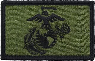 USMC EGA Patch Fully Embroidered United States Marine Corps Tactical Hook and Loop Morale Tags (Green and Black)