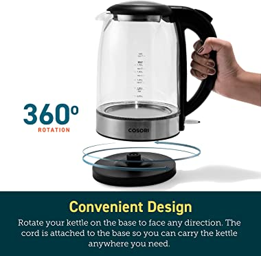 COSORI Electric Kettle with Upgraded Stainless Steel Filter and Inner Lid, Wide Opening Glass Tea Kettle & Hot Water Boil