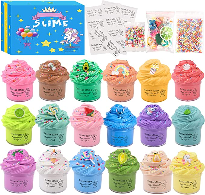 643 opinioni per Luclay Slime Putty Slime, 18 paquetes Kit de limo de mantequilla suave Juguetes