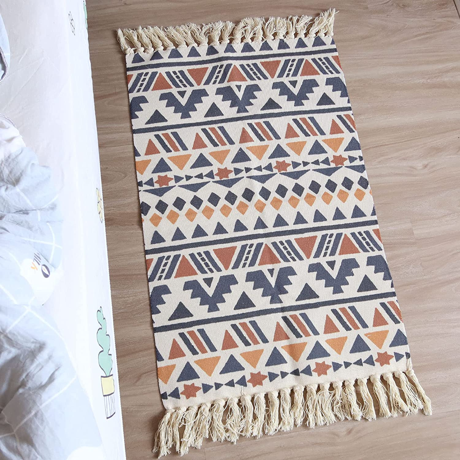 Boho Bathroom Rug 20'x20' with Tassel, Woven Small Throw Rug Decorative  Porch, Machine Washable Runner Rugs for Hallway Doorway Living Room Bedroom  ...