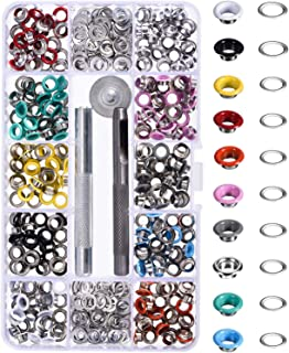 Bememo 300 Pieces Grommets Kit Metal Eyelets Shoes Clothes Crafts, 10 Colors (3/16 Inch)