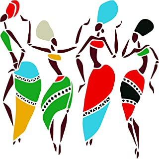 African Dancers Stencil - 6.5 x 6.5 inch (M) - Reusable Women Lady Dancers Silhouettes Tribal Wall Stencils for Painting - Use on Poster Scrapbook Journal Walls Floors Fabric Furniture Glass Wood etc.
