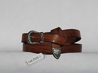 LINCOLN - Cintura artigianale da donna in cuoio toscano con effetto vintage e punta attorcigliata in metallo zama. Vari co...