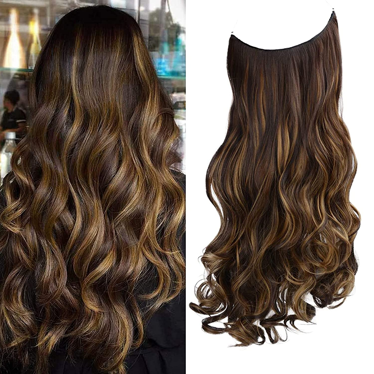 REECHO Halo Hair supreme Extensions with Transparent Invisible Year-end annual account Adju Wire