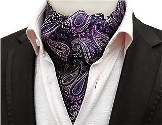 Secdtie Men's Paisley Floral Silk Self Ascot Designer Jacquard Woven Cravat Ties