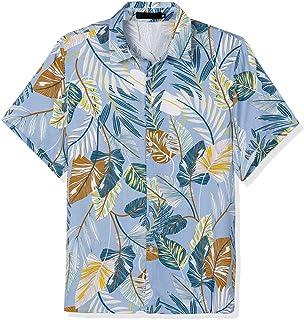 Lars Amadeus 総柄 アロハシャツ ハワイアンシャツ 半袖 花柄 プリントシャツ ビーチ メンズ