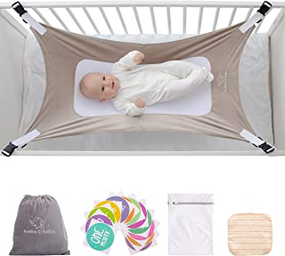Buddies & Babies Baby Crib Hammock - Safety Crescent Mimics Womb Hanging Bed for Newborns - Best Infant Bed Sleeping with Mesh Support and Adjustable Straps - Great Baby Shower Gift Gray
