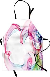 Lunarable Abstract Apron, Colorful Smock Artwork Contemporary Style with Futuristic Influences Print, Unisex Kitchen Bib with Adjustable Neck for Cooking Gardening, Adult Size, Pink White