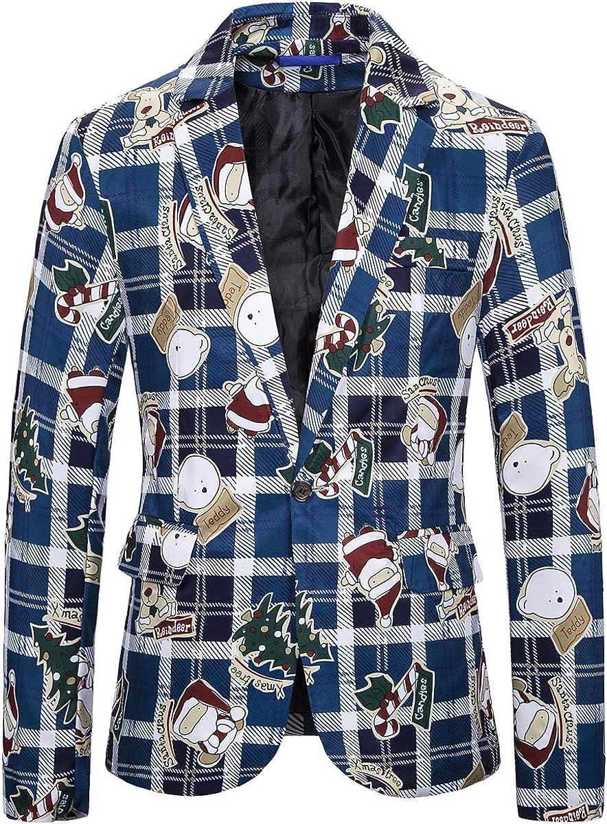 Mens Ugly Christmas Dress Suit Jacket Funny Print Slim Fit Dinner Sweater Blazer