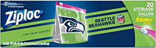 Ziploc Slider Storage Gallon Bag, Great for grab-and-go snacking, tailgating or homegating, 20 Count- NFL Seattle Seahawks