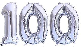 Globo numero 100 plata Globos Gigantes Numeros 1 0 0 Silver plata fiestas cumpleaños decoración fiesta aniversario boda tamaño grande 70 cm con accesorio para inflar aire o helio (Plata 100)