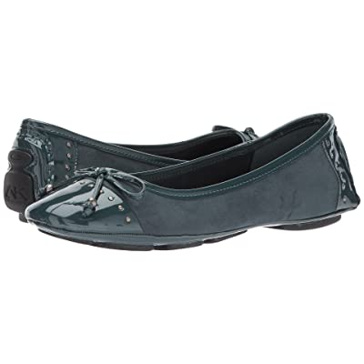 Anne Klein Buttons Flat (Dark Green Fabric) Women
