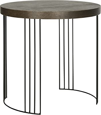 Safavieh Home Collection Kelly Mid-Century Modern Dark Brown and Black Side Table